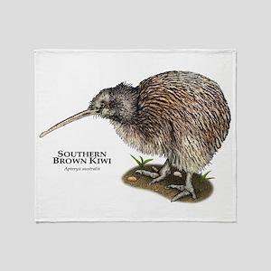 Southern Brown Kiwi Throw Blanket