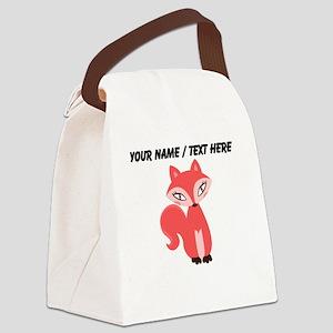 Custom Cartoon Red Fox Canvas Lunch Bag