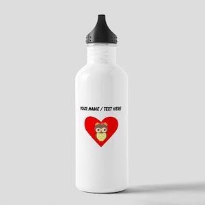 Custom Owl Heart Water Bottle