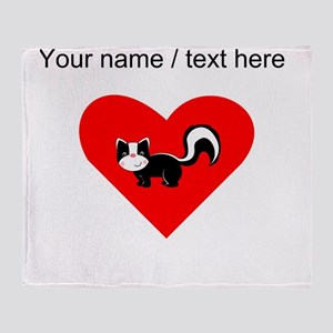 Custom Skunk Heart Throw Blanket