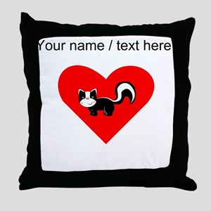 Custom Skunk Heart Throw Pillow