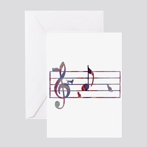 Musical Note 'A' - with cats Greeting Cards