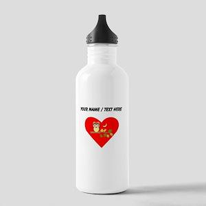 Custom Owl on Branch Heart Water Bottle