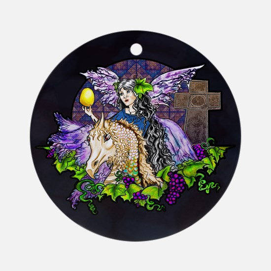 Gothic Cross And Fairy Eve Round Ornament