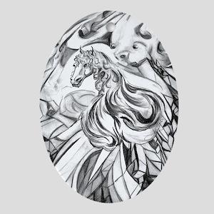 Winged Horse Fantasy Art Oval Ornament