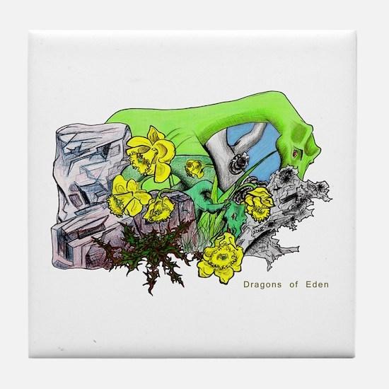 Dragons Crystal Garden Fantasy Art Tile Coaster