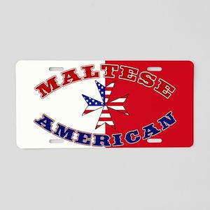 Maltese American Cross Ensign Aluminum License Pla