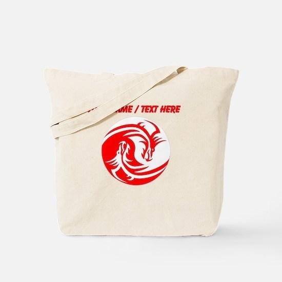 Custom Red And White Yin Yang Dragons Tote Bag