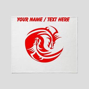 Custom Red And White Yin Yang Dragons Throw Blanke
