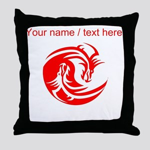 Custom Red And White Yin Yang Dragons Throw Pillow
