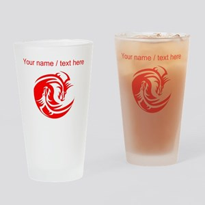 Custom Red And White Yin Yang Dragons Drinking Gla