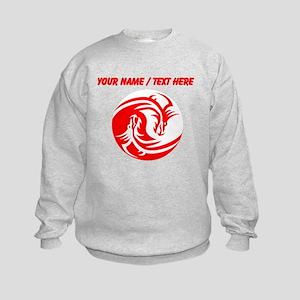 Custom Red And White Yin Yang Dragons Sweatshirt