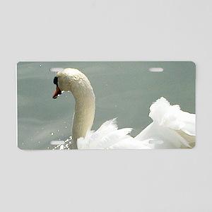 Beautiful white swan Aluminum License Plate