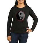 Blood Drip Ying Yang Women's Long Sleeve Dark T-Sh