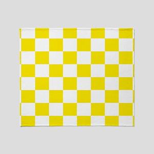 Lemon Yellow Checkerboard Throw Blanket