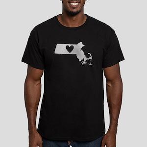 Heart Massachusetts Men's Fitted T-Shirt (dark)