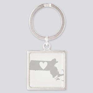Heart Massachusetts Square Keychain