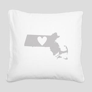 Heart Massachusetts Square Canvas Pillow