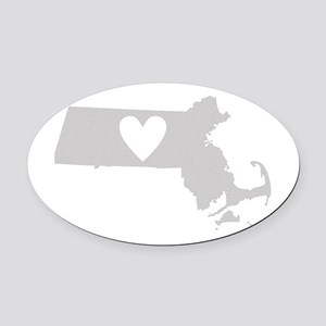 Heart Massachusetts Oval Car Magnet
