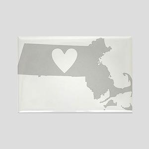 Heart Massachusetts Rectangle Magnet