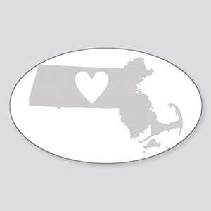 Heart Massachusetts Sticker (Oval)