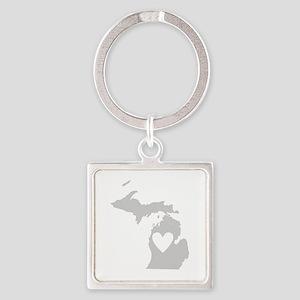 Heart Michigan Square Keychain
