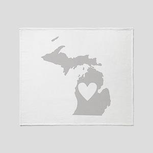 Heart Michigan Throw Blanket
