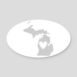 Heart Michigan Oval Car Magnet
