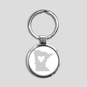 Heart Minnesota Round Keychain