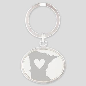 Heart Minnesota Oval Keychain