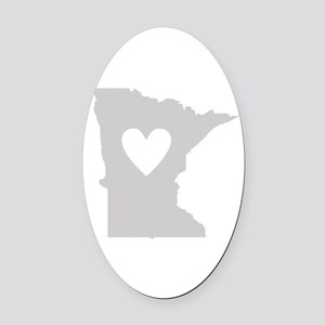 Heart Minnesota Oval Car Magnet