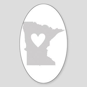 Heart Minnesota Sticker (Oval)