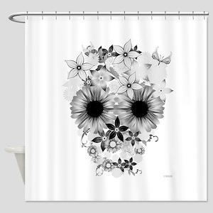 Skull flowers Shower Curtain