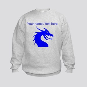 Custom Blue Scary Dragon Sweatshirt