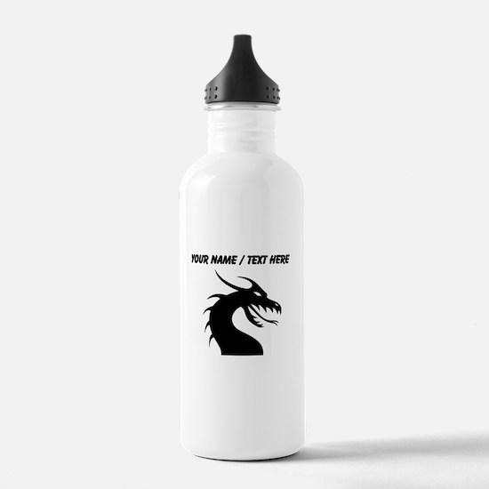 Custom Black Scary Dragon Water Bottle