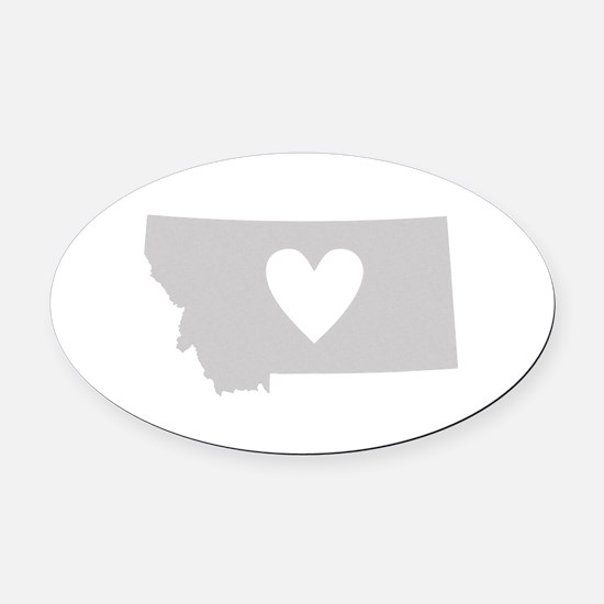 Heart Montana Oval Car Magnet