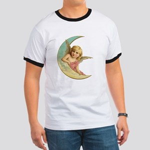 Vintage Christmas Pink Angel Child Crescent Moon T