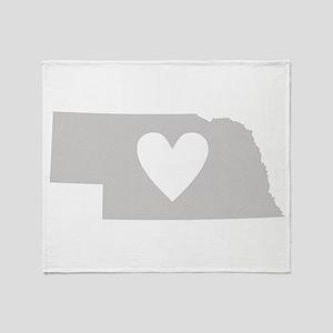 Heart Nebraska Throw Blanket