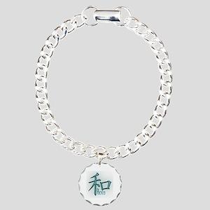 Kanji Peace Symbol Design In Teal Charm Bracelet,