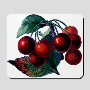 Vintage Cherry Big Red Juicy Cherries Fruit Mousep