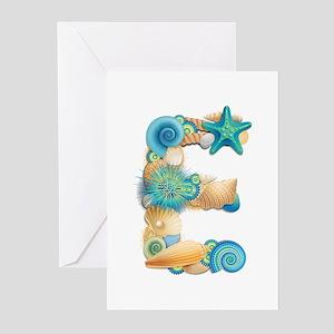 Beach Theme Initial E Greeting Cards (Pk of 10)