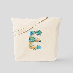 Beach Theme Initial E Tote Bag