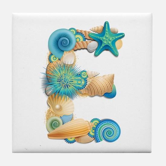 Beach Theme Initial E Tile Coaster
