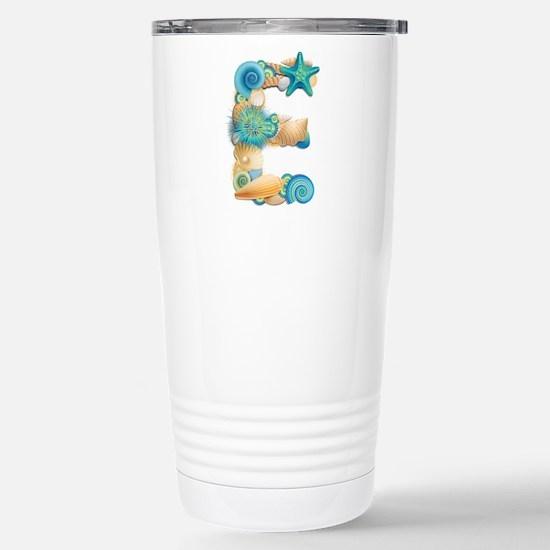 Beach Theme Initial E Travel Mug