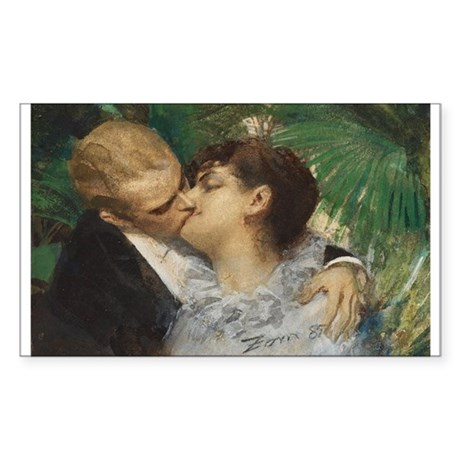Romantic Art by Anders Zorn-The Embrace Sticker (R
