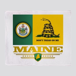 Maine Gadsden Flag Throw Blanket