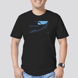 Key West - Map Design. Men's Fitted T-Shirt (dark)