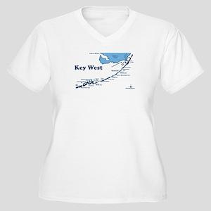 Key West - Map Design. Women's Plus Size V-Neck T-