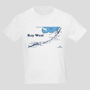 Key West - Map Design. Kids Light T-Shirt