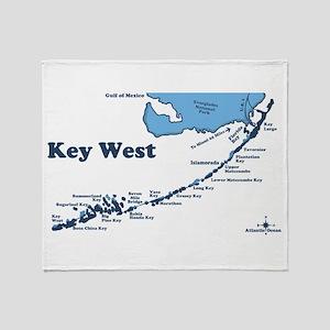 Key West - Map Design. Throw Blanket